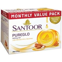 Santoor Pureglo Glycerine Bathing Bar 3x125g