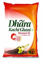 Dhara Kachhi Ghani Mustard Oil 1Ltr Pouch