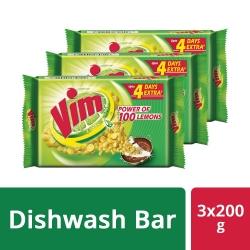 Vim Dishwash Bar 200g Pack Of 3Pcs