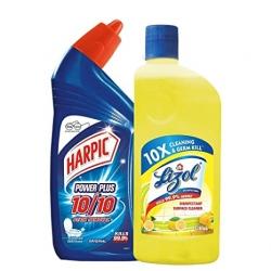 Lizol Disinfectant Surface Cleaner Citrus 500ml + Harpic Powder Plus Original 500ml