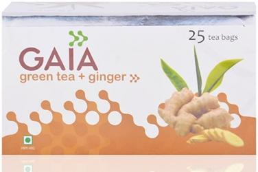 Gaia Green Tea Ginger 25 Tea Bags Box