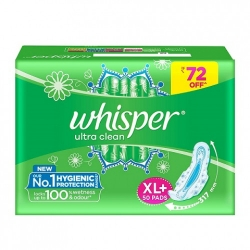 Whisper Ultra Clean Sanitary Pads XL+ 50Pcs